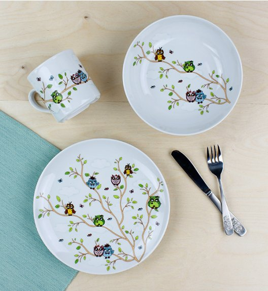 LUBIANA SOWY Komplet obiadowy dla dzieci 3 el / porcelana