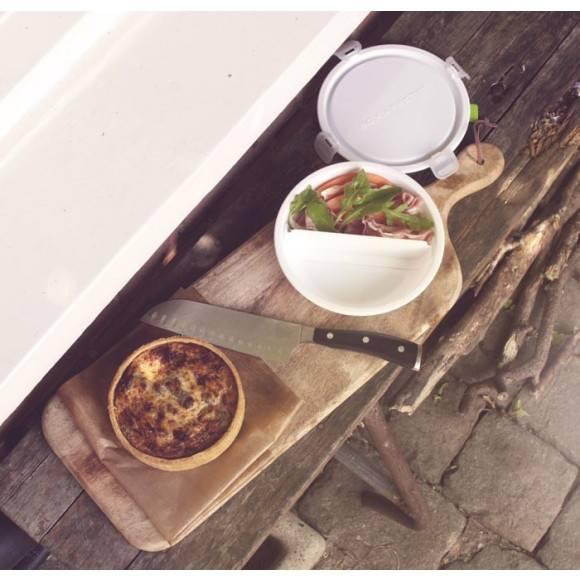 BLACK+BLUM Okrągły lunch box, duży, biało zielony. Btrzy