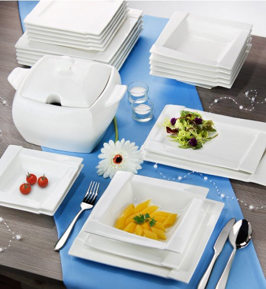 AMBITION KUBIKO Serwis obiadowy 42 elementy dla 12 osób / Porcelana + GRATIS 49 ZŁ / 94706