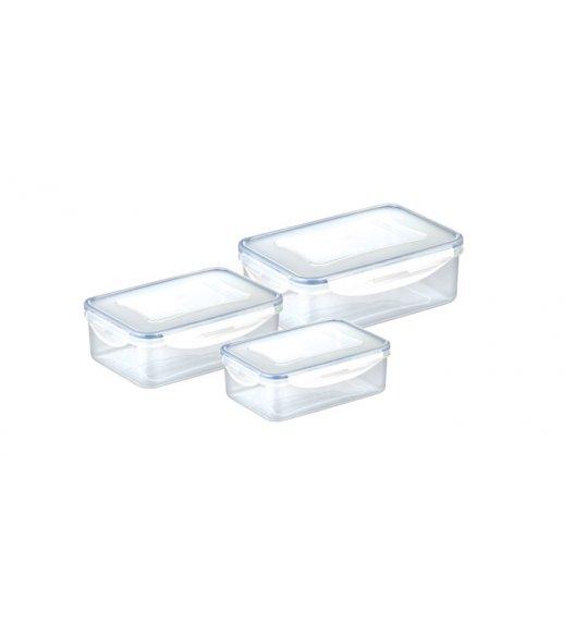 Komplet prostokątnych pojemników na żywność Tescoma Freshbox, 3 sztuki. Zobacz film.