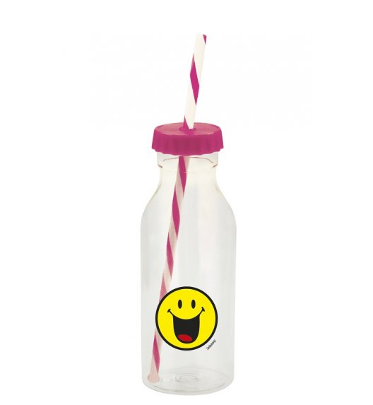 ZAK! DESIGNS Butelka ze słomką 550ml, fuksja, Smiley / Btrzy