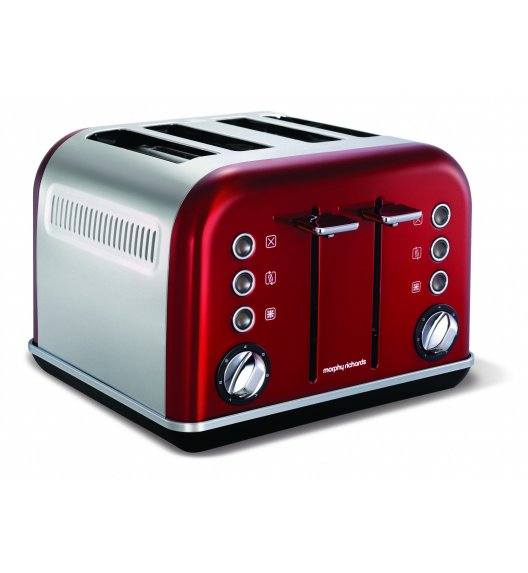 MORPHY RICHARDS Toster Accents czerwony na 4 tosty o mocy 1880W
