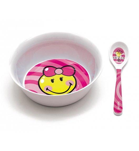 ZAK! DESIGNS Smiley Kid Miska z łyżeczką z melaminy dla dziewczynki, różowa / Btrzy