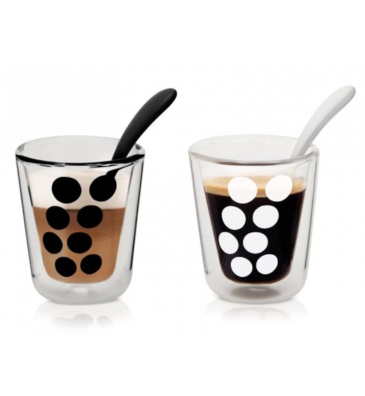 ZAK! DESIGNS Zestaw 2 szklanek + łyżeczki, kropki, 200 ml / Btrzy