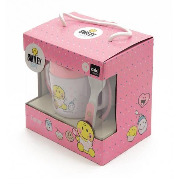 ZAK! DESIGNS Smiley Baby zestaw do nauki samodzielnego jedzenia dla dziewczynki, różowy /Btrzy
