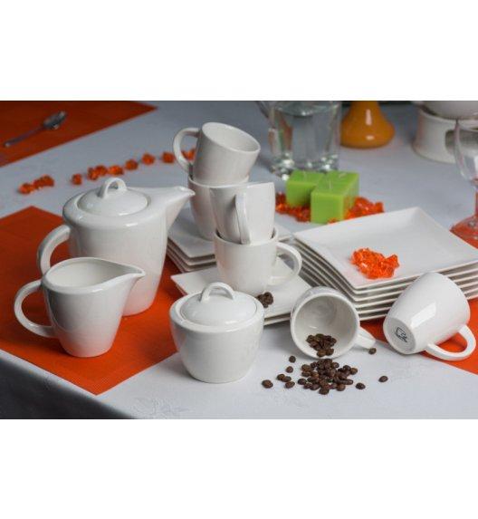 WYPRZEDAŻ! DUO WHITE Serwis kawowy 5 os/13 el + GRATIS półmis na ciasto / wyroby porcelanowe