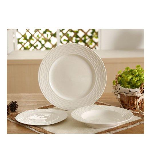 DUO HEBE SILVER Serwis obiadowy 36 elementów na 12 osób Biała porcelana ze zdobieniem