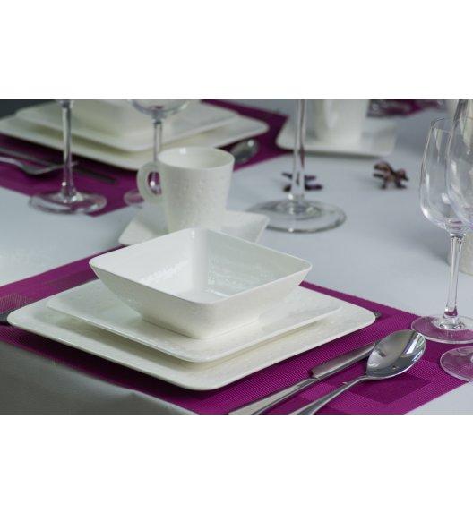 DUO ALFA Komplet obiadowo-kawowy 30 elementów na 6 osób. Biała porcelana ze zdobieniem