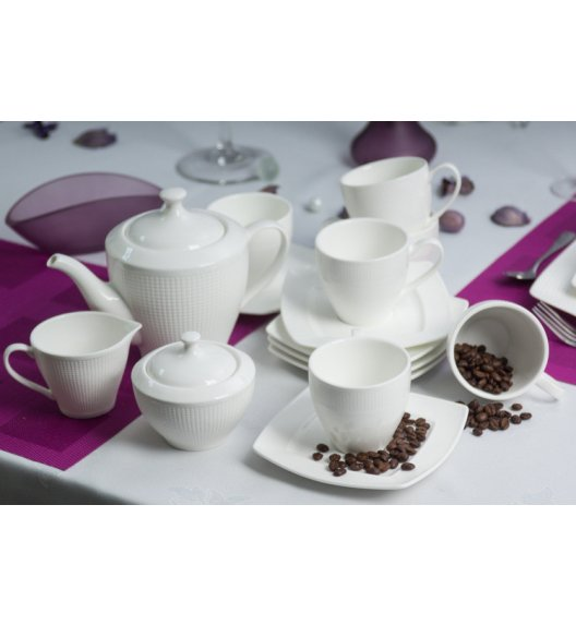 DUO BETA Komplet kawowy 15 elementów dla 6 osób / porcelana biała ze zdobieniem