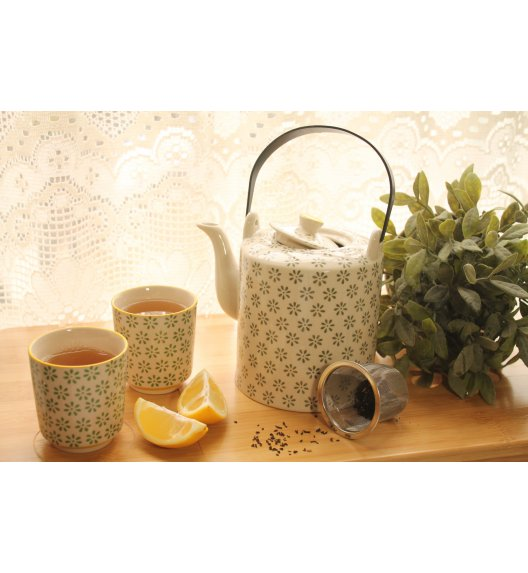 DUO TEA COLLECTION Komplet dzbanek z sitkiem + dwa kubki 180ml GREEN