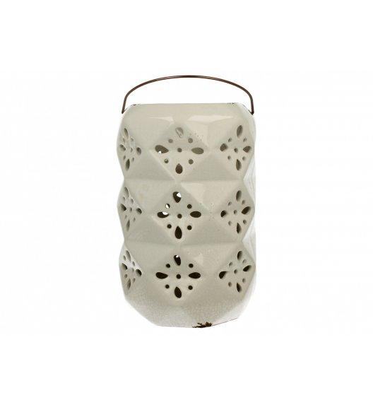 DUO Lampion ceramiczny 26 cm / kwiaty / biały