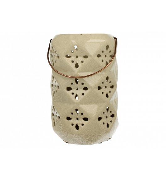 DUO Lampion ceramiczny 26 cm / kwiaty / kremowy