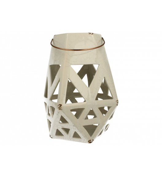 DUO Lampion ceramiczny 27,5 cm / trójkąty/ biały