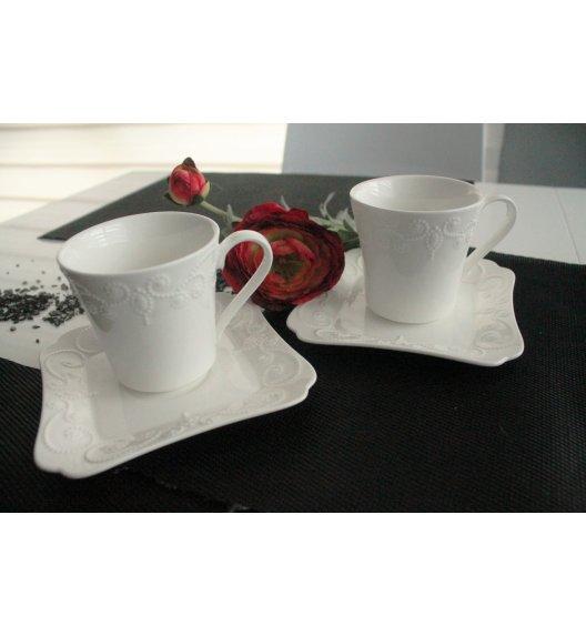 DUO ING Komplet 2 Filiżanek 100 ml ze spodkami / porcelana wysokiej jakości