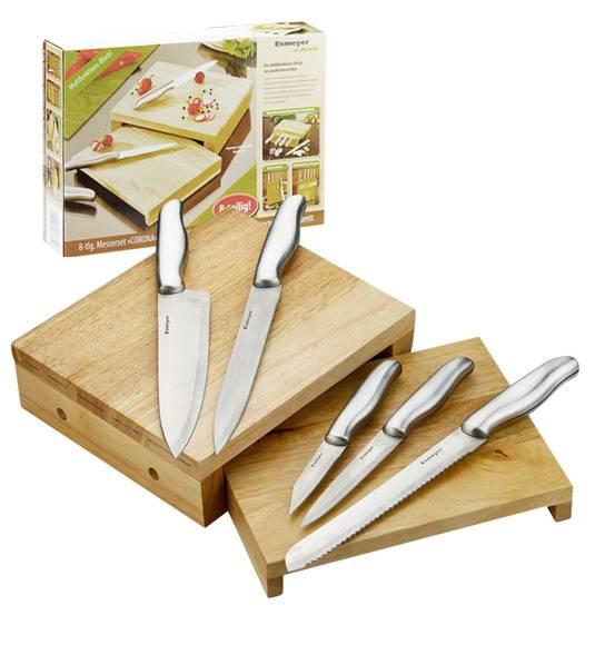 Esmeyer Corona Blok noży z funkcją deski do krojenia 7 elementów STAL NIERDZEWNA