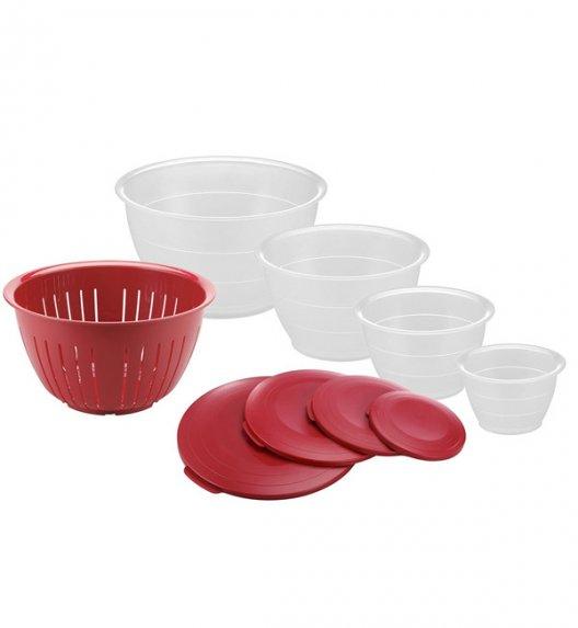 WESTMARK OLYMPIA Zestaw 4 misek z pokrywkami + cedzak / czerwone