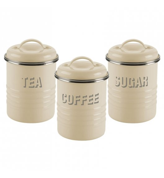 TYPHOON Zestaw 3 pojemników na kawę, herbatę i cukier VINTAGE KITCHEN, kremowe / Btrzy