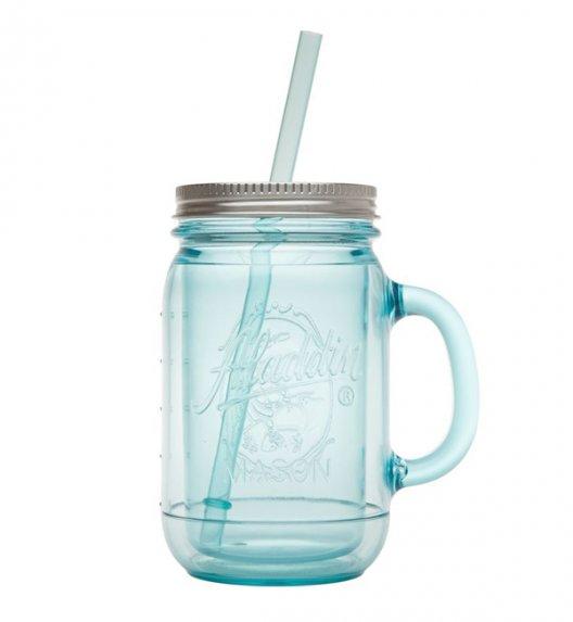 ALADDIN Retro słoik na napoje ze słomką MASON 0,4 l błękitny / FreeForm