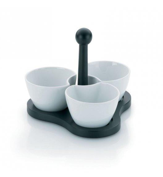 KELA Zestaw 3 porcelanowych miseczek na stojaku / FreeForm