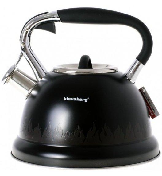 KLAUSBERG Czajnik z gwizdkiem STAL 2,7 L czarny płomienie / Indukcja / KB7198 Delhan
