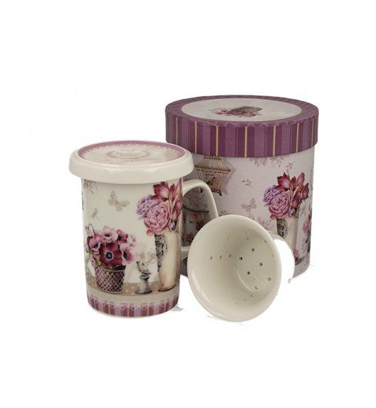 DUO MIA Kubek z zaparzaczem 300 ml / różowe kwiaty / porcelana