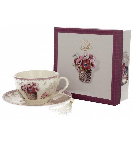 DUO MIA Filiżanka ze spodkiem 250 ml / różowe kwiaty / porcelana