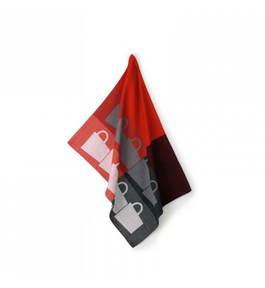 KELA Ściereczka kuchenna TABEA CUPS 70 x 50 cm, czerwono-czarna / FreeForm