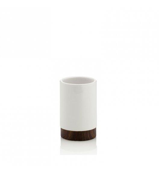 KELA Ceramiczny kubek łazienkowy MIRKA dekor z ciemnego drewna / FreeForm
