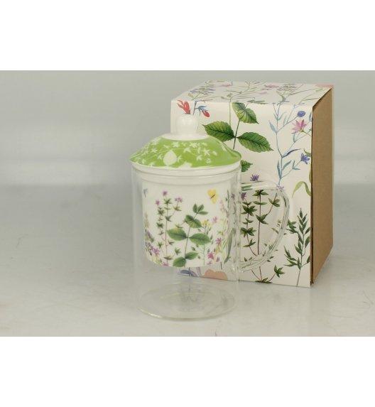 DUO HERBS Szklany kubek z porcelanowym zaparzaczem 450 ml