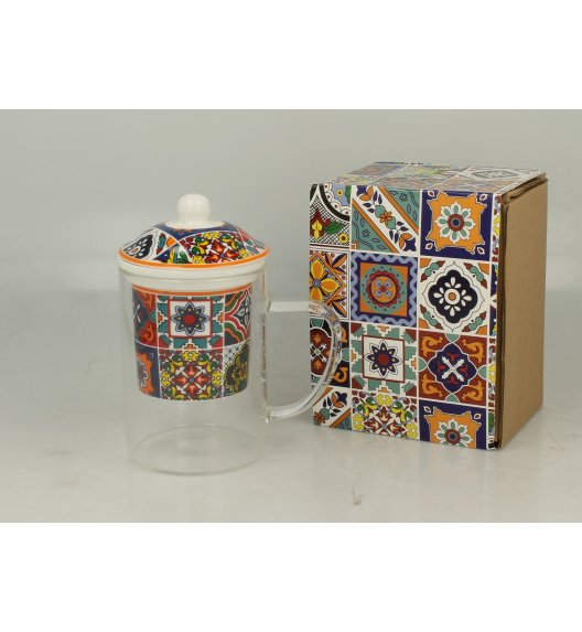 DUO RABAT Szklany kubek z porcelanowym zaparzaczem 450 ml