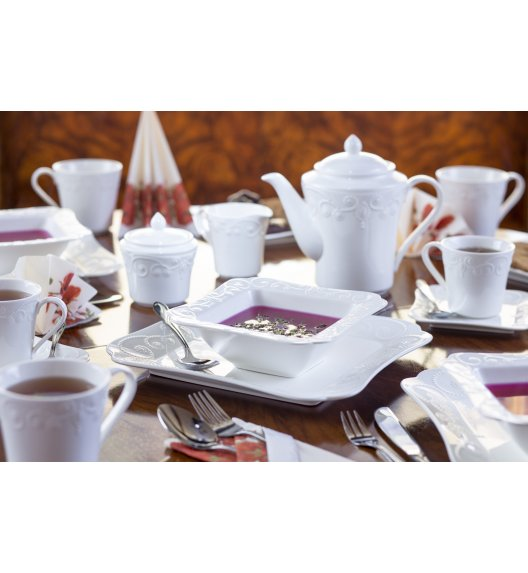 DUO ING Komplet obiadowo kawowy 66 el / 12 osób / porcelana