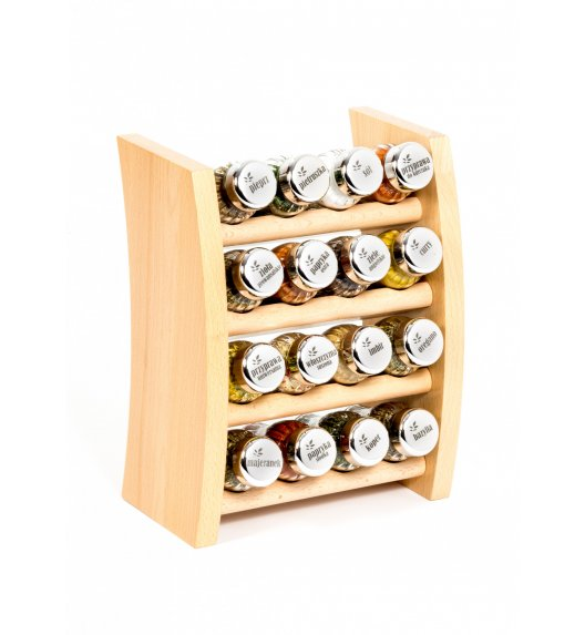 GALD Półka drewniana z 16 przyprawami / PÓŁKA 16NS - N POŁYSK