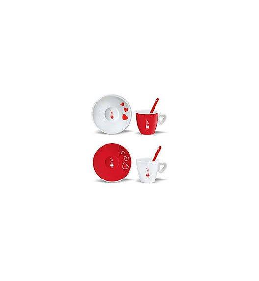 BIALETTI CUORE Komplet 2 filiżanek do kawy + spodek i łyżeczka / scapol
