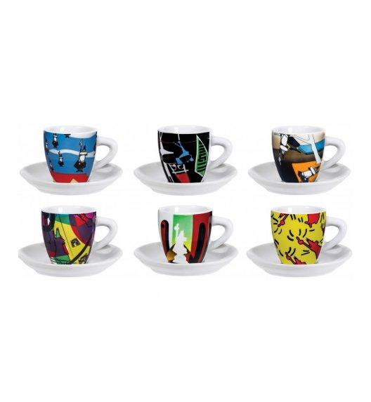 BIALETTI ART COLLECTION Komplet 6 kolorowych filiżanek ze spodkami do kawy / scapol