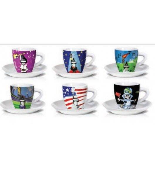 BIALETTI EVENTS Komplet 6 kolorowych filiżanek ze spodkami do kawy / scapol