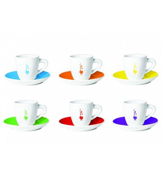 BIALETTI CLASSIC COLORATE Komplet 6 kolorowych filiżanek ze spodkami do kawy / scapol