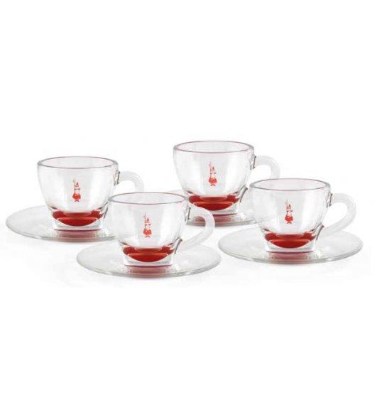BIALETTI CLASSIC RED Komplet 4 filiżanek ze spodkami / porcelana / scapol