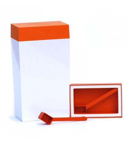 O'LaLa Pojemnik prostokątny z miarką do przechowywania żywności / 4,0 L / biało-pomarańczowy  / FreeForm
