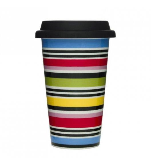 SAGAFORM Porcelanowy kubek na kawę z pokrywką CAFE 0,25 l, paski / FreeForm