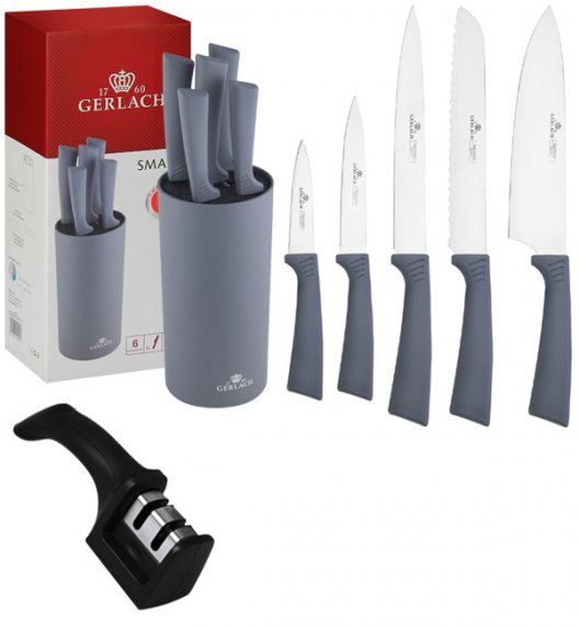 GERLACH SMART GREY 994 Zestaw  noży w bloku 6 elementów + ostrzałka 2w1 / antypoślizgowa rękojeść / 994GRAFIT/2w1