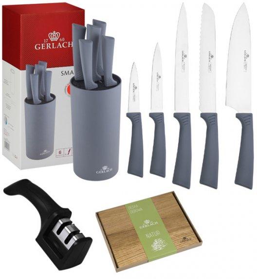 GERLACH SMART GREY Komplet 5 noży w bloku + ostrzałka 2w1 + deska dębowa