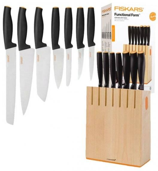 FISKARS FUNCTIONAL FORM 1018781 Komplet 7 noży kuchennych w bloku drewnianym / Rękojeść Softgrip®