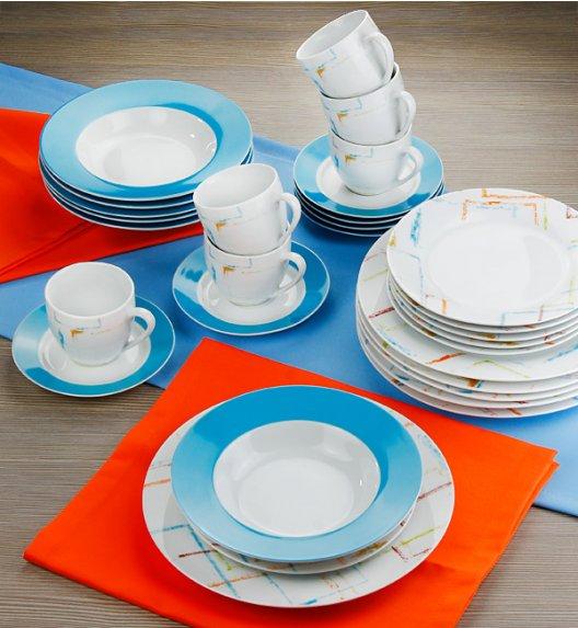 WYPRZEDAŻ! FLIRT COLOR Komplet obiadowo-kawowy 30 el / 6 os Porcelana
