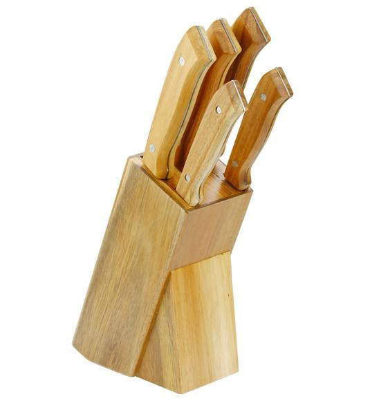 WYPRZEDAŻ! ESMEYER PHOENIX Komplet 3 noży + GRATIS!  Blok na noże / stal nierdzewna i drewno akacjowe