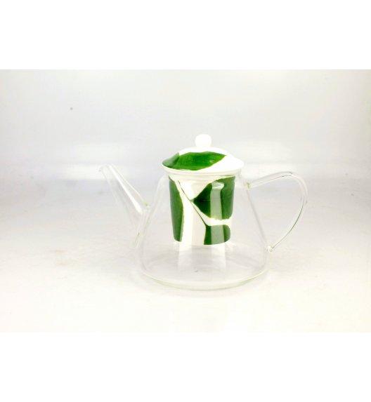 DUO GREEN Dzbanek szklany 1,2 l z porcelanowym zaparzaczem LIŚĆ A