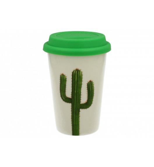 DUO GREEN Kubek z silikonową pokrywką 380 ml KAKTUS A / Porcelana