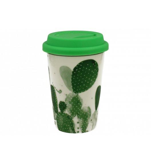 DUO GREEN Kubek z silikonową pokrywką 380 ml KAKTUS B / Porcelana