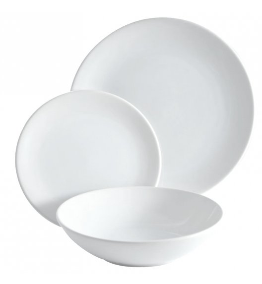 TADAR BIANCO Komplet obiadowy 18 elementów dla 6 osób / Biały połysk / Ceramika