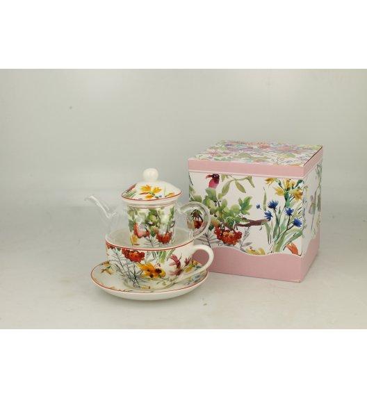 DUO FLOWER Szklany dzbanek z porcelanową filiżanką i spodkiem + zaparzacz LINNEA / Porcelana