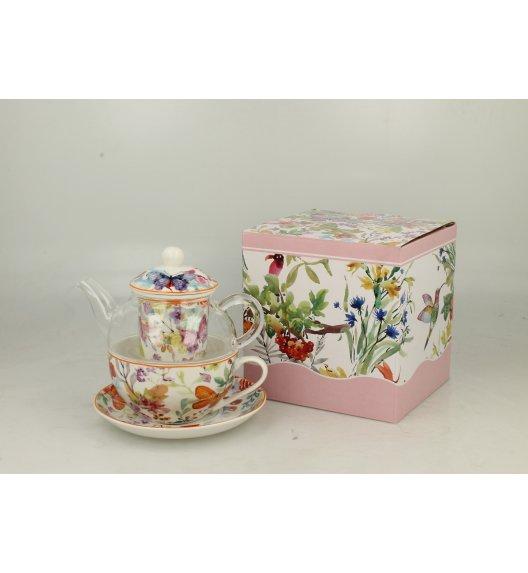 DUO FLOWER Szklany dzbanek z porcelanową filiżanką i spodkiem + zaparzacz CUBIC / Porcelana
